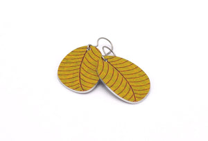 Mustard Organic Leaf Earrings by ColorUpLife