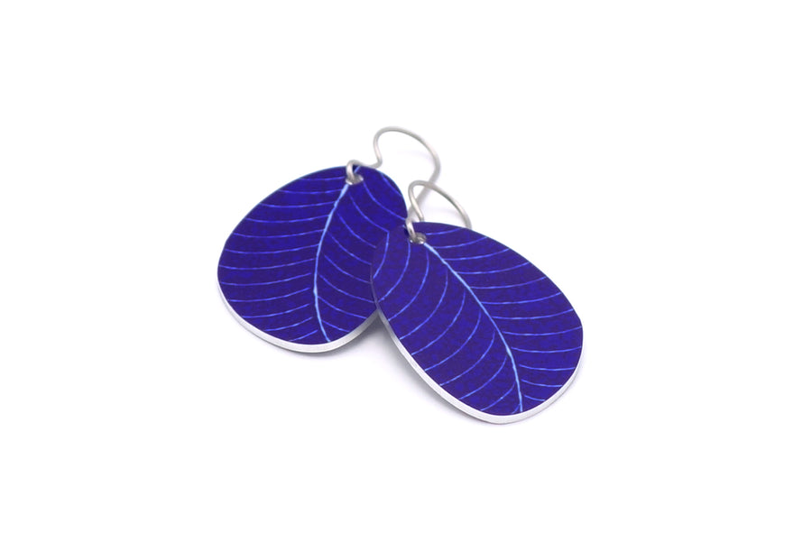 Navy Organic Leaf Earrings by ColorUpLife