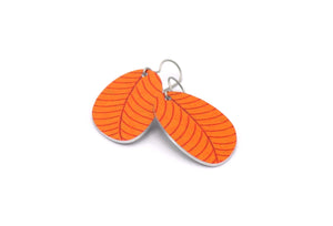 Orange Organic Leaf Earrings by ColorUpLife