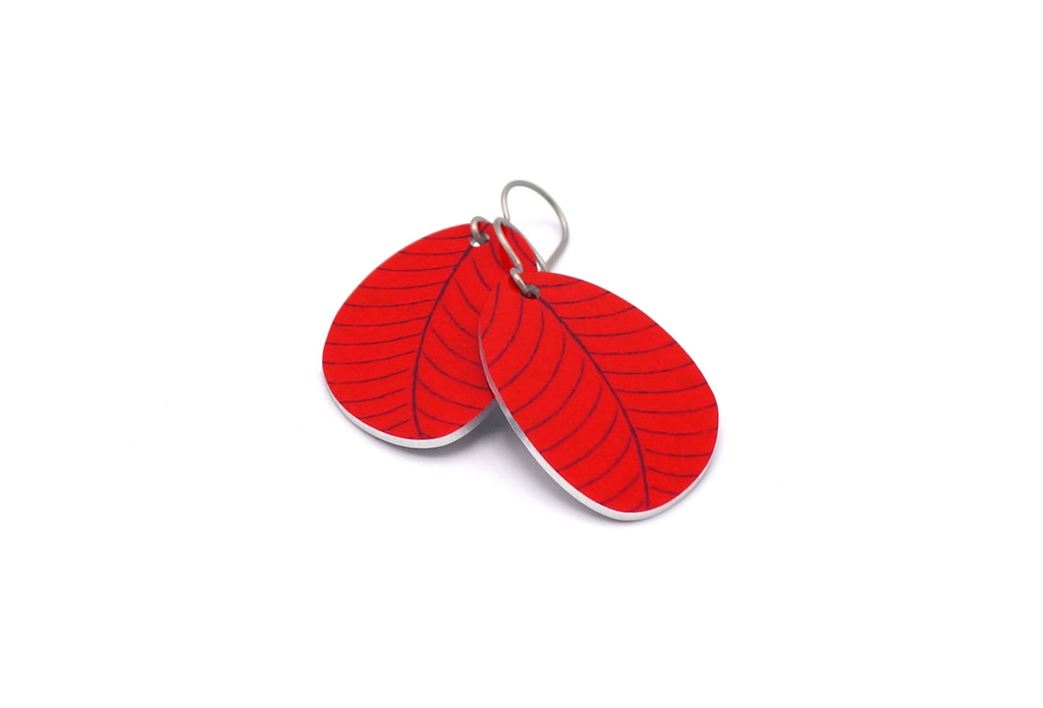 Red Organic Leaf Earrings by ColorUpLife