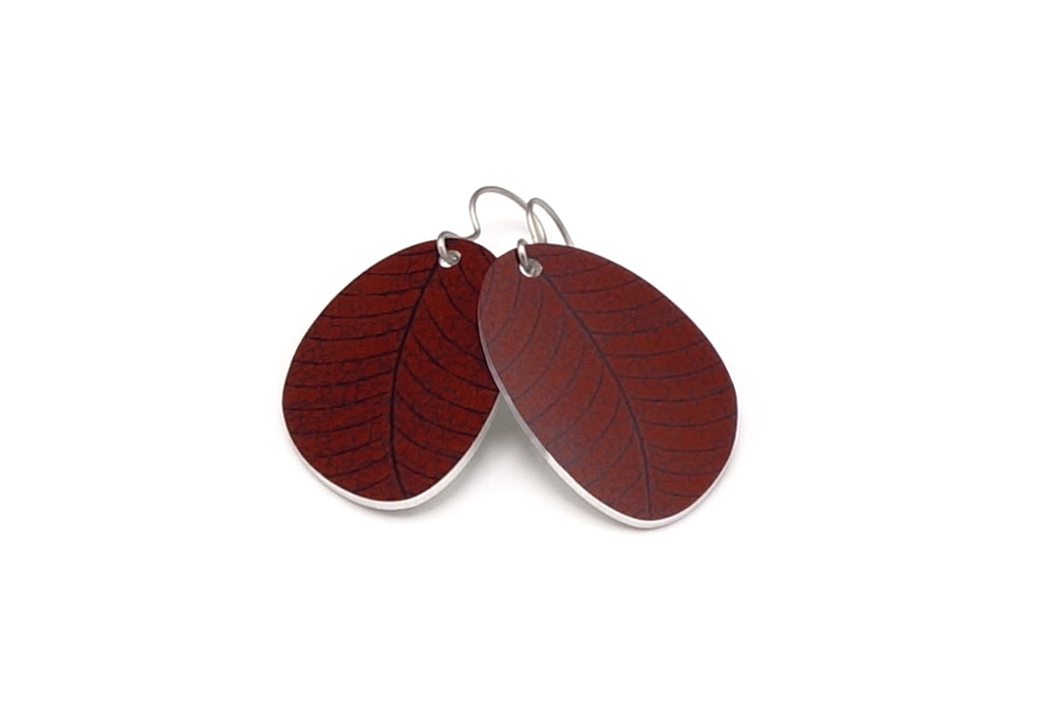 Rustic Red Organic Leaf Earrings by ColorUpLife