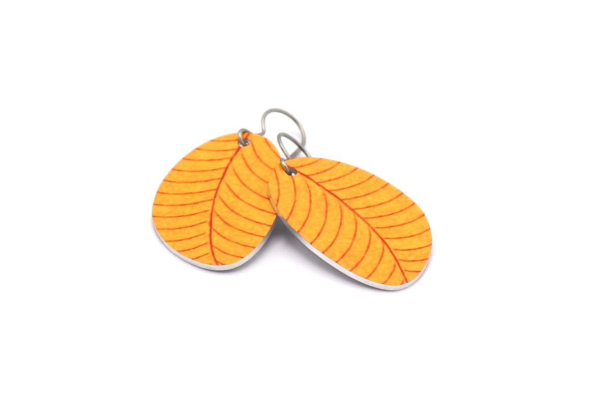 Yellow Organic Leaf Earrings by ColorUpLife