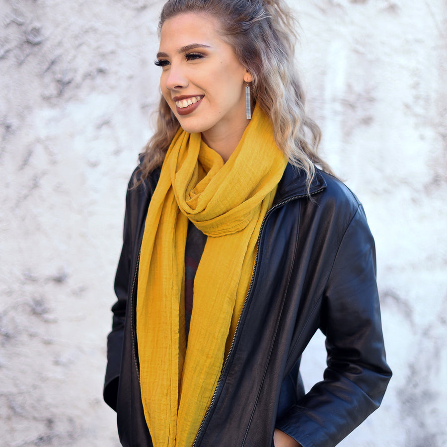 Light Mustard Cotton Double Gauze Scarf by ColorUpLife