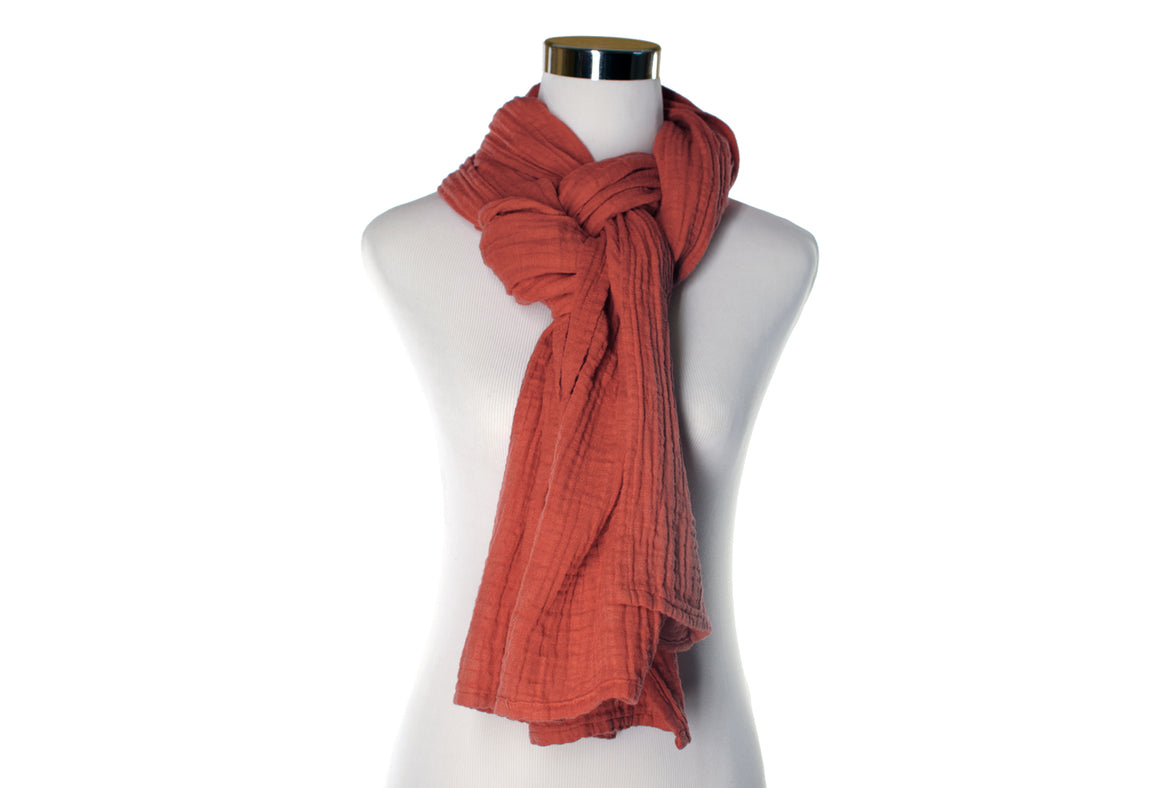 Light Brick Red Cotton Double Gauze Scarf by ColorUpLife