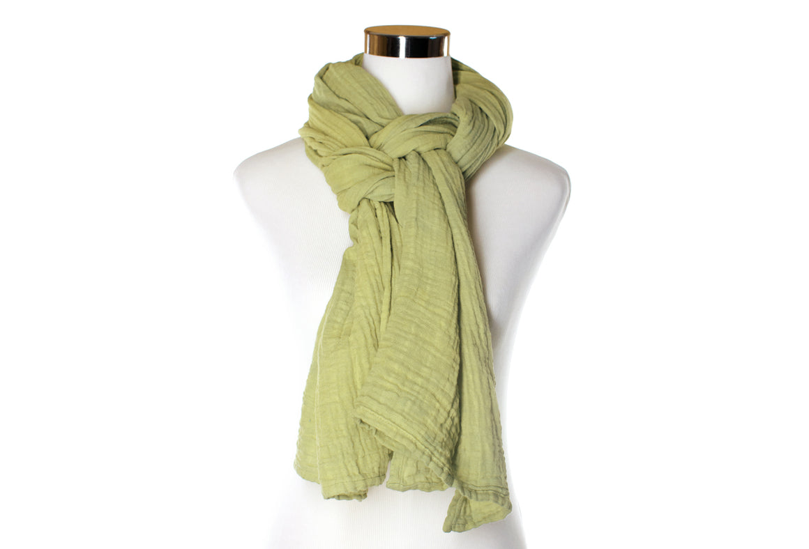 cotton double gauze scarf - light celery - ColorUpLife