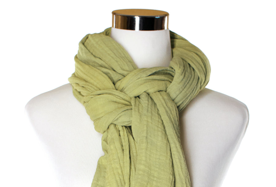 Light Celery Cotton Double Gauze Scarf by ColorUpLife