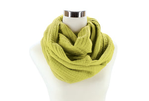 Light Chartreuse Cotton Double Gauze Infinity Scarf by ColorUpLife