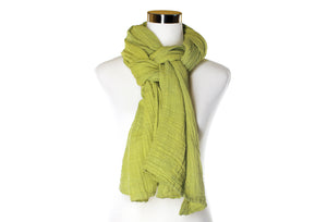 Light Chartreuse Cotton Double Gauze Scarf by ColorUpLife