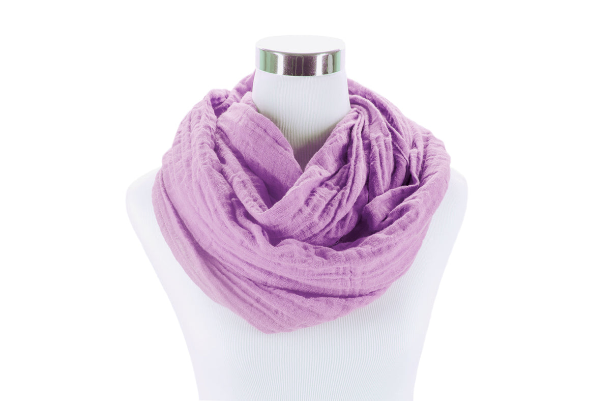 Light Orchid Cotton Double Gauze Infinity Scarf by ColorUpLife