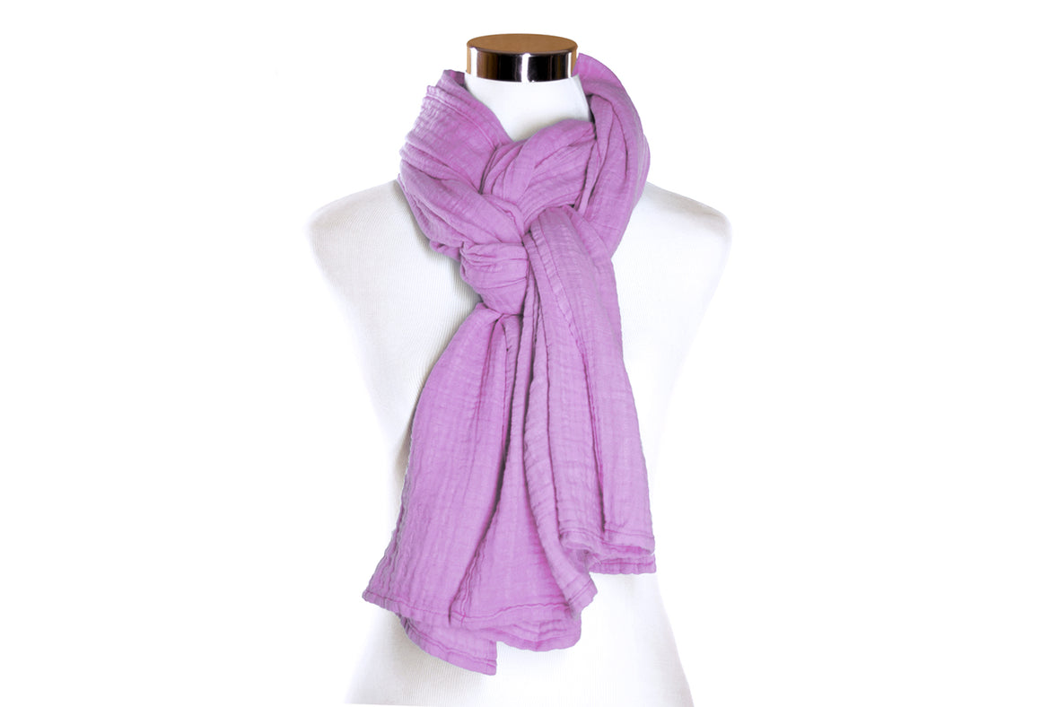 Light Orchid Cotton Double Gauze Scarf by ColorUpLife