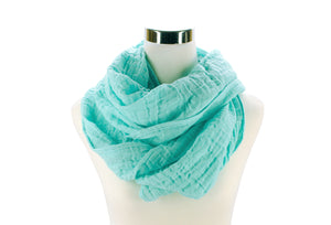 Light Seafoam Cotton Double Gauze Infinity Scarf by ColorUpLife