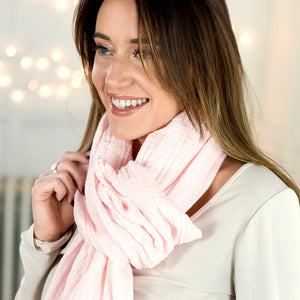Barely Pink Cotton Double Gauze Scarf by ColorUpLife