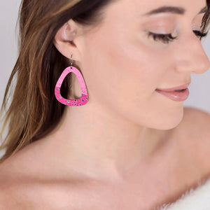 Pink Party Dot Triangle Earrings by ColorUpLife