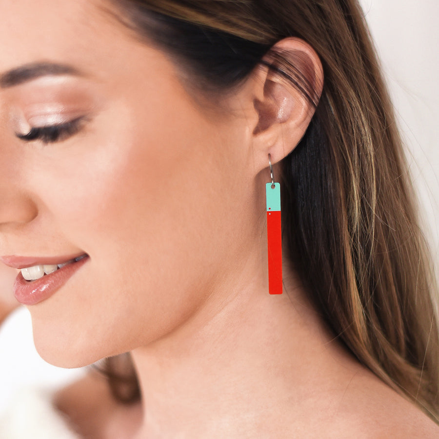 Red and Teal Opposites Earrings by ColorUpLife