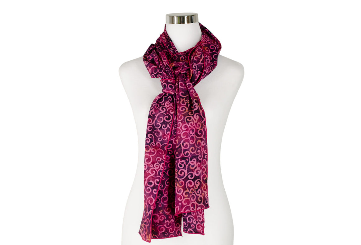 Mixed Berry Batik Rayon Scarf by ColorUpLife