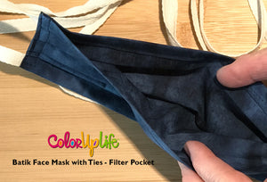 Filter Friendly Batik Face Mask with Ties - Multi Color