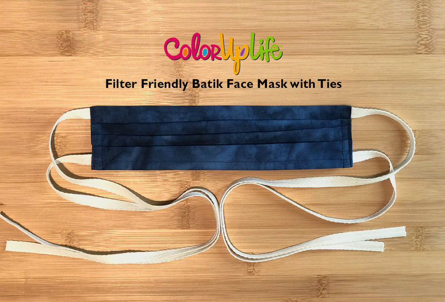 Filter Friendly Batik Face Masks with Ties by ColorUpLife