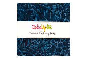 Batik Mug Mats - Deep Sea Blue