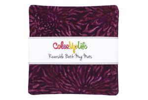 Batik Fabric Mug Mats - Pleasantly Plum
