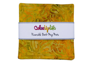 Batik Fabric Mug Mats - Viney Yellow