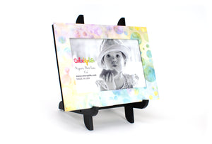 Pastel Bubbles Magnetic Picture Frame Displayed on a Decorative Easel by ColorUpLife