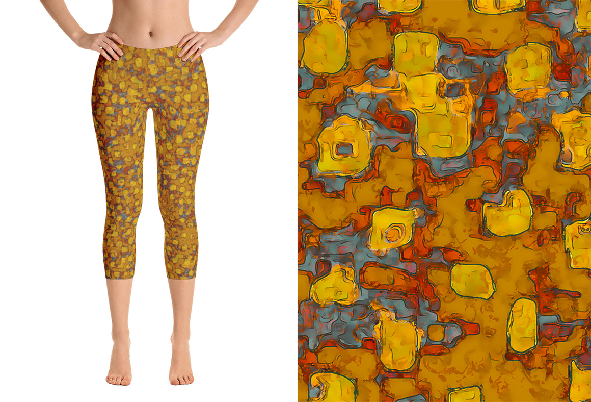 capri leggings - mustard - be square style - front view with swatch - ColorUpLife