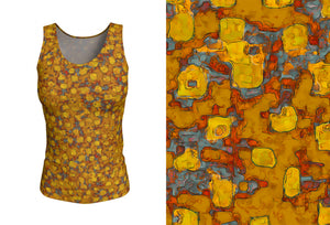 fitted tank - mustard - be square style - front view with swatch - ColorUpLife
