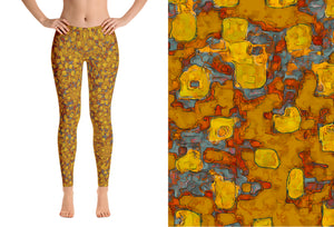 leggings - mustard - Be Square style - front view with swatch – ColorUpLife