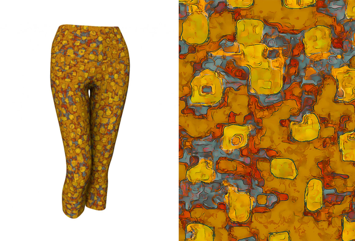 capri yoga leggings - mustard - be square style - front view with swatch - ColorUpLife