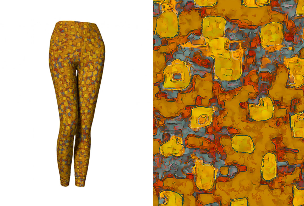 yoga leggings - mustard - be square style - front view with swatch - ColorUpLife
