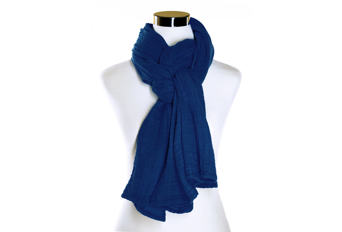 Navy Cotton Double Gauze Scarf by ColorUpLife