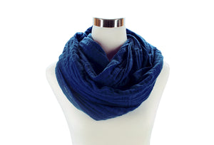 Navy Cotton Double Gauze Infinity Scarf by ColorUpLife