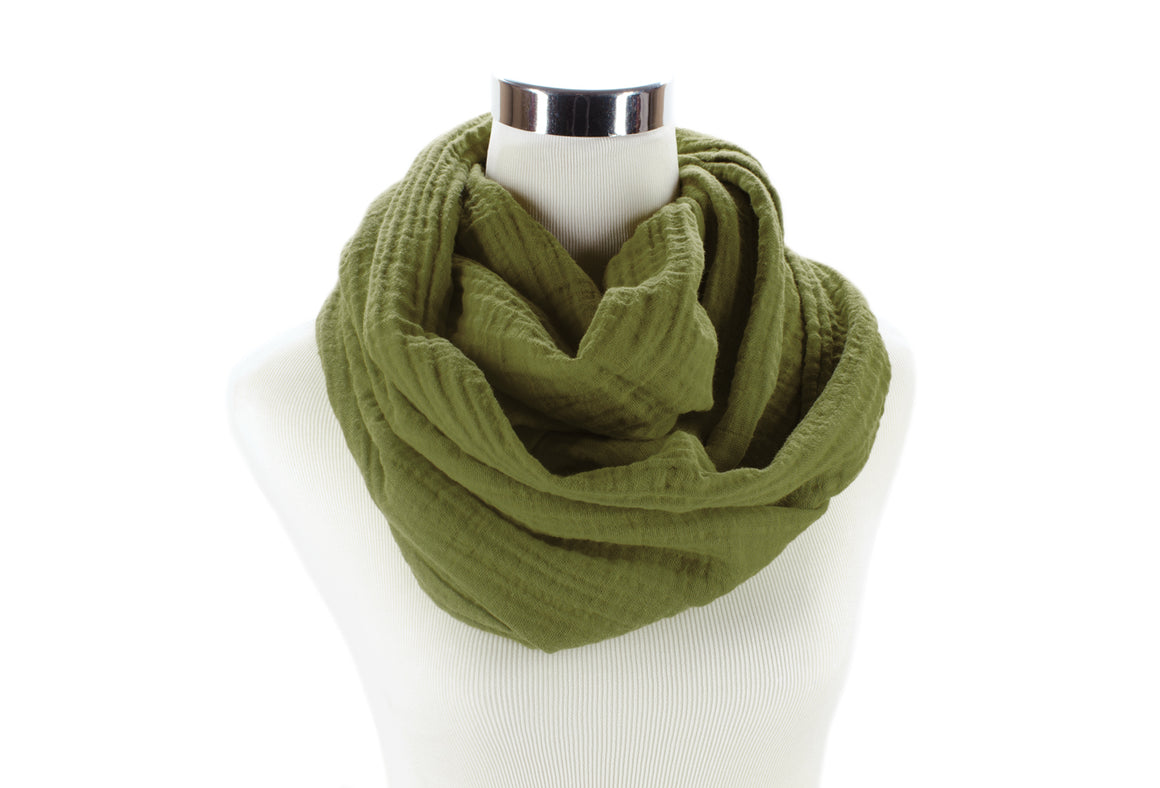 Olive Cotton Double Gauze Infinity Scarf by ColorUpLife