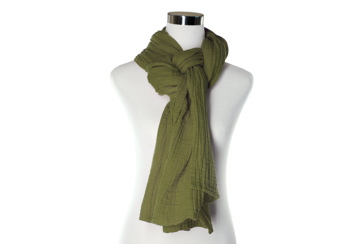 Olive Cotton Double Gauze Scarf by ColorUpLife
