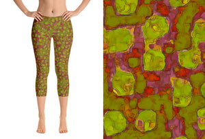 capri leggings - olive green - be square style - front view with swatch - ColorUpLife