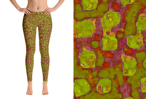 leggings - olive - Be Square style - front view with swatch – ColorUpLife