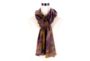 batik scarf - olive and plum - ColorUpLife