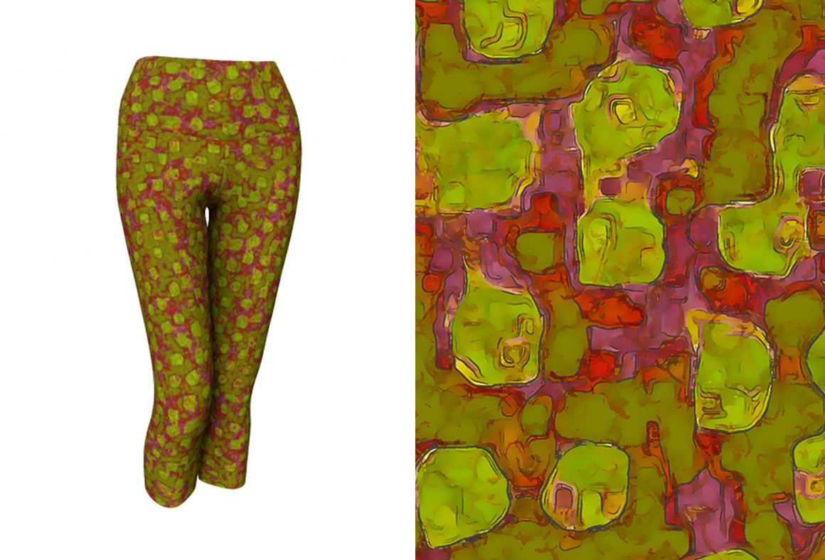 yoga capris - olive - be square style - front view with swatch - ColorUpLife