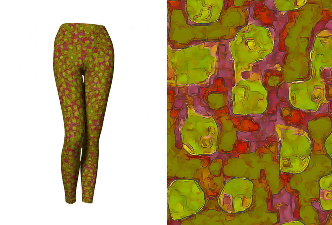 yoga leggings - olive - be square style - front view with swatch - ColorUpLife