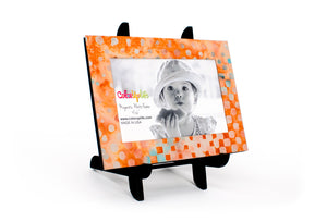 magnetic photo frame with display easel – sapphire and peach – ColorUpLife