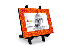 magnetic photo frame with display easel – orange and yellow – ColorUpLife