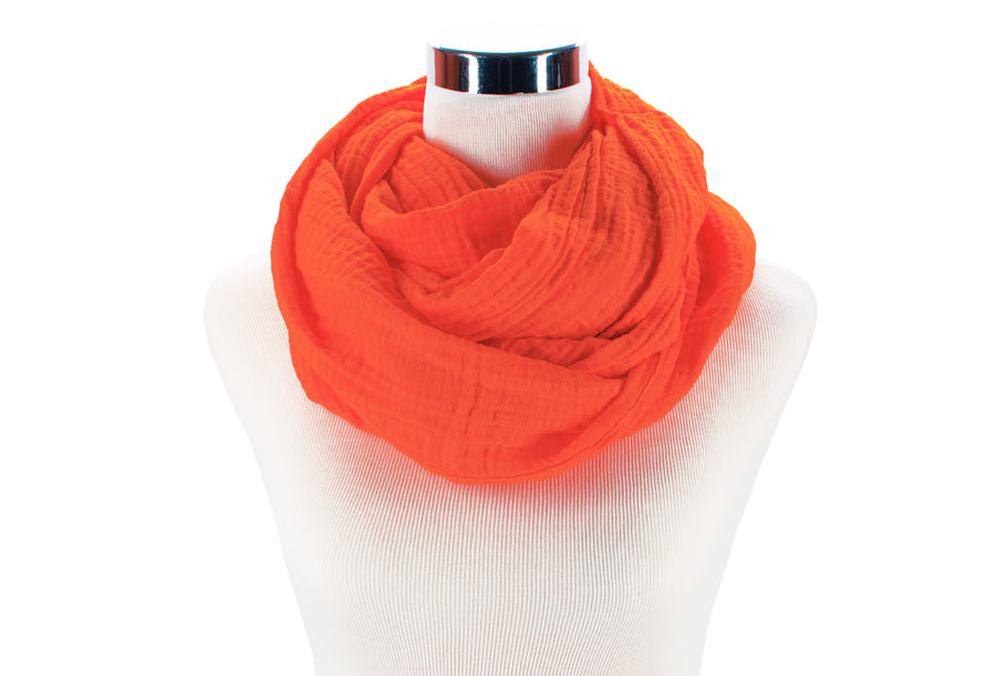 infinity scarf - cotton double gauze - orange creamsicle - ColorUpLife