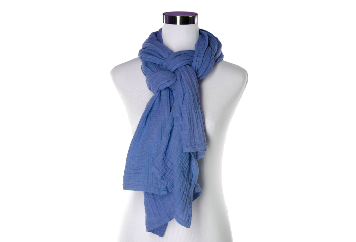 Cotton Double Gauze Scarf - Periwinkle
