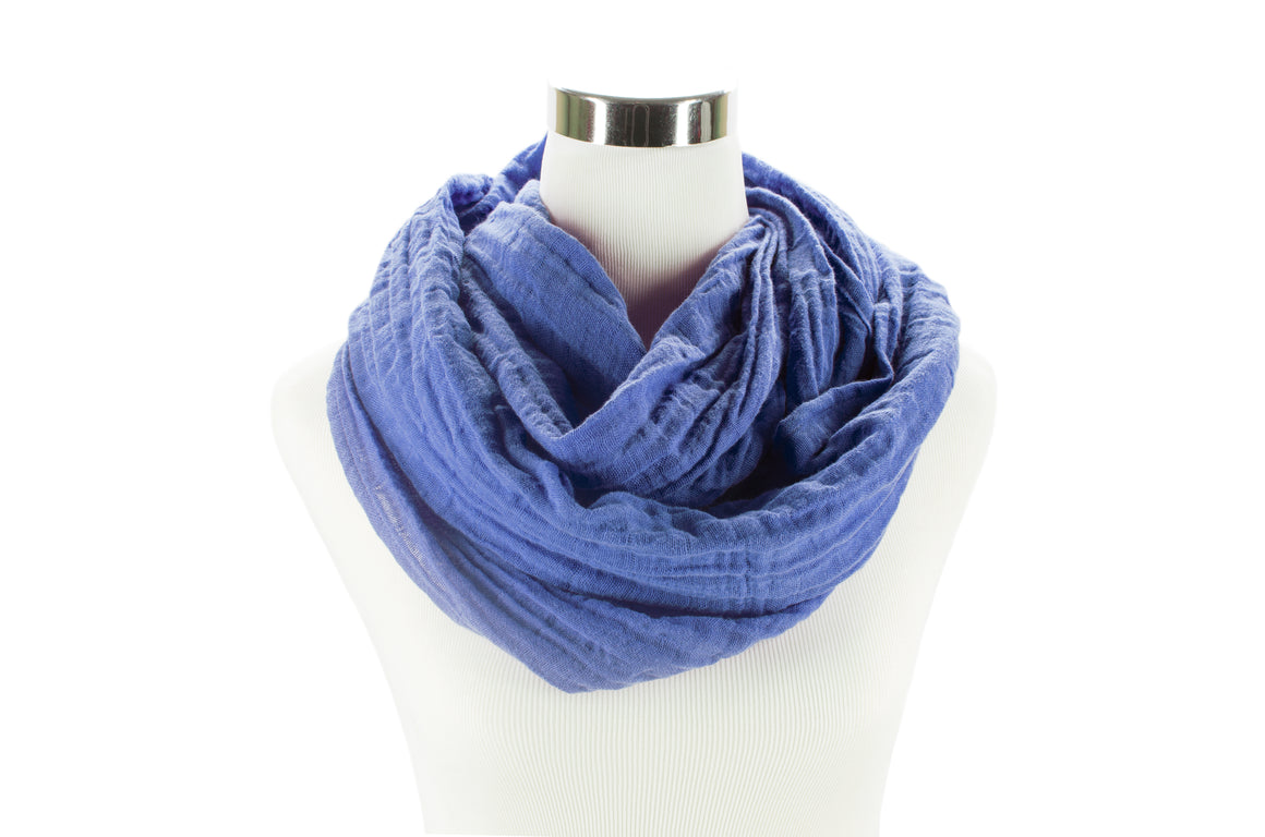 Periwinkle Cotton Double Gauze Infinity Scarf by ColorUpLife