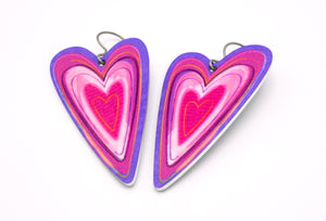 Pink and Purple Heart Earrings by ColorUpLife