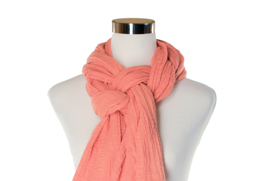 Cotton Double Gauze Scarf - Pink Coral