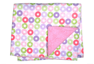 Flannel Blanket - Pink Circles