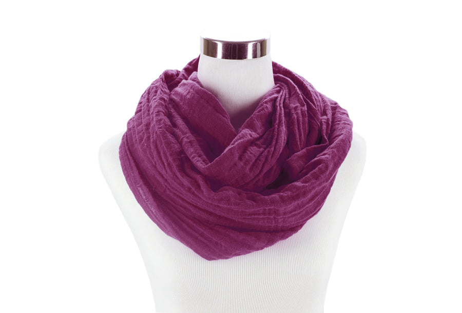 Plum Cotton Double Gauze Infinity Scarf by ColorUpLife