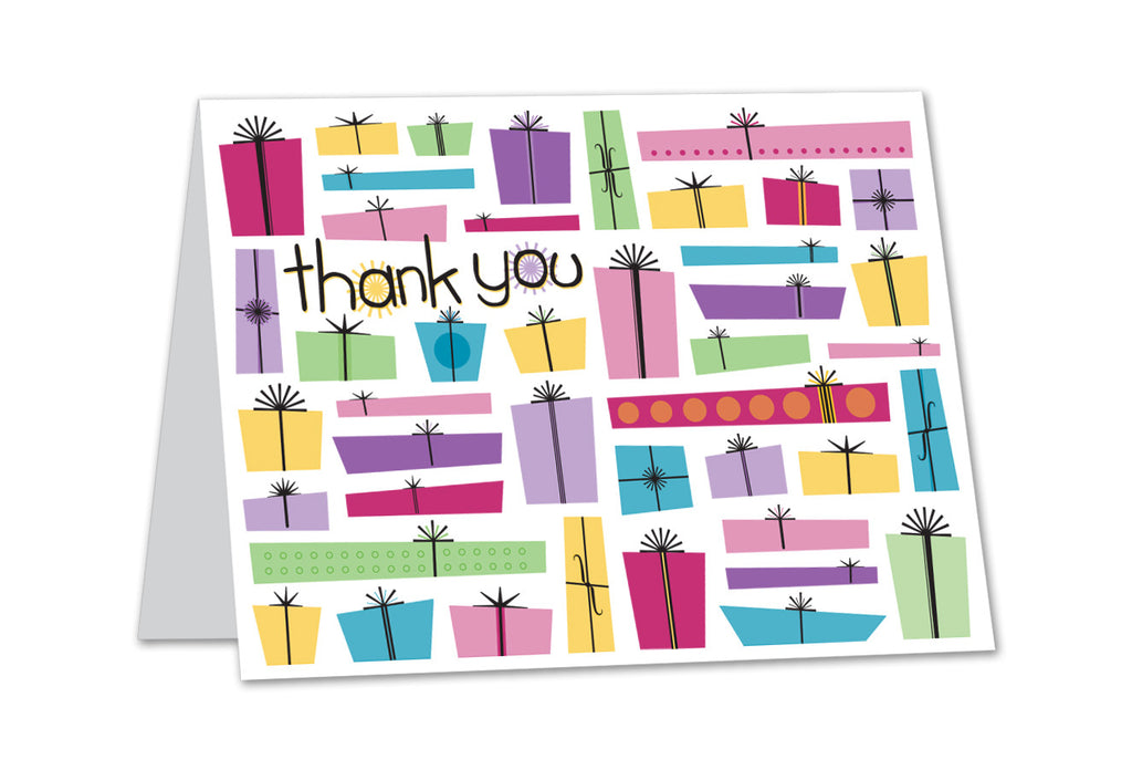 Thank You Card - Presents in Pink