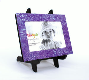 magnetic photo frame with display easel – purple dot – ColorUpLife